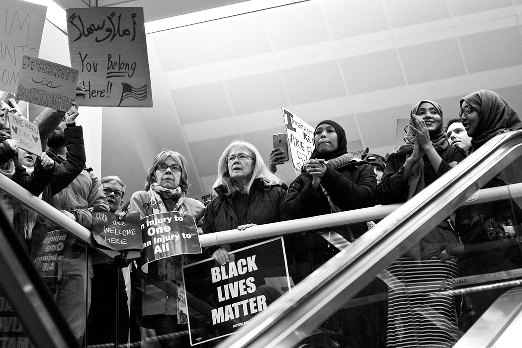 protestors at the MSP airport